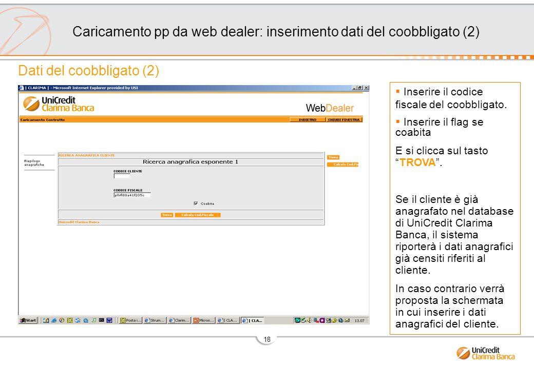 Caricamento pp da web dealer: inserimento dati del coobbligato (2)