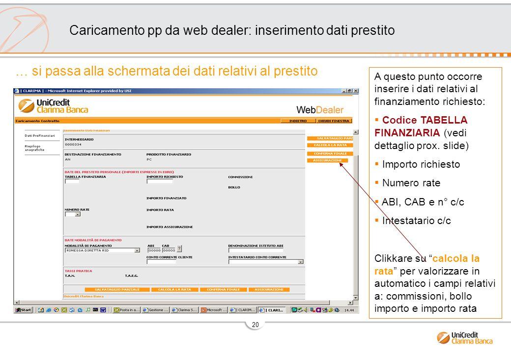 Caricamento pp da web dealer: inserimento dati prestito