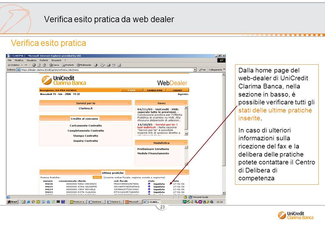 Verifica esito pratica da web dealer