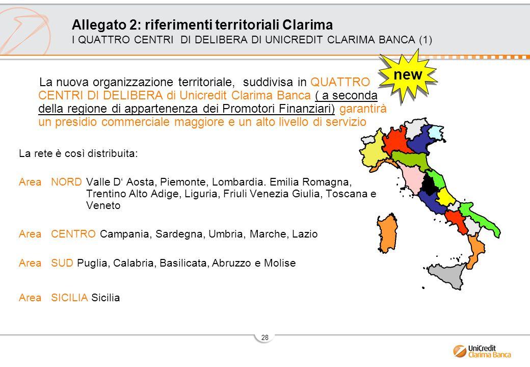 Allegato 2: riferimenti territoriali Clarima I QUATTRO CENTRI DI DELIBERA DI UNICREDIT CLARIMA BANCA (1)
