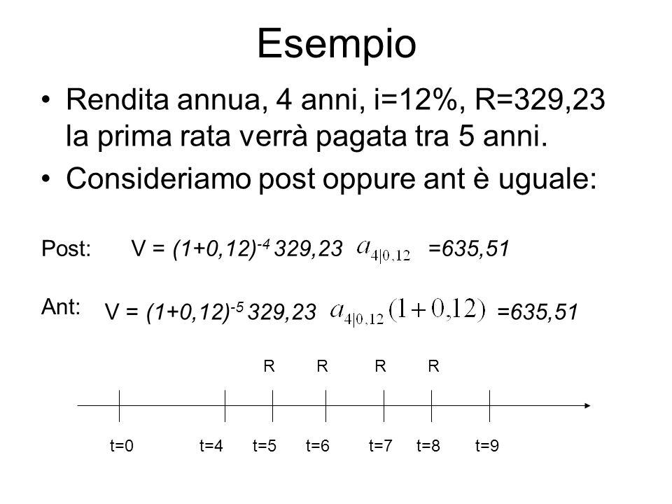 Esempio Rendita annua, 4 anni, i=12%, R=329,23 la prima rata verrà pagata tra 5 anni. Consideriamo post oppure ant è uguale: