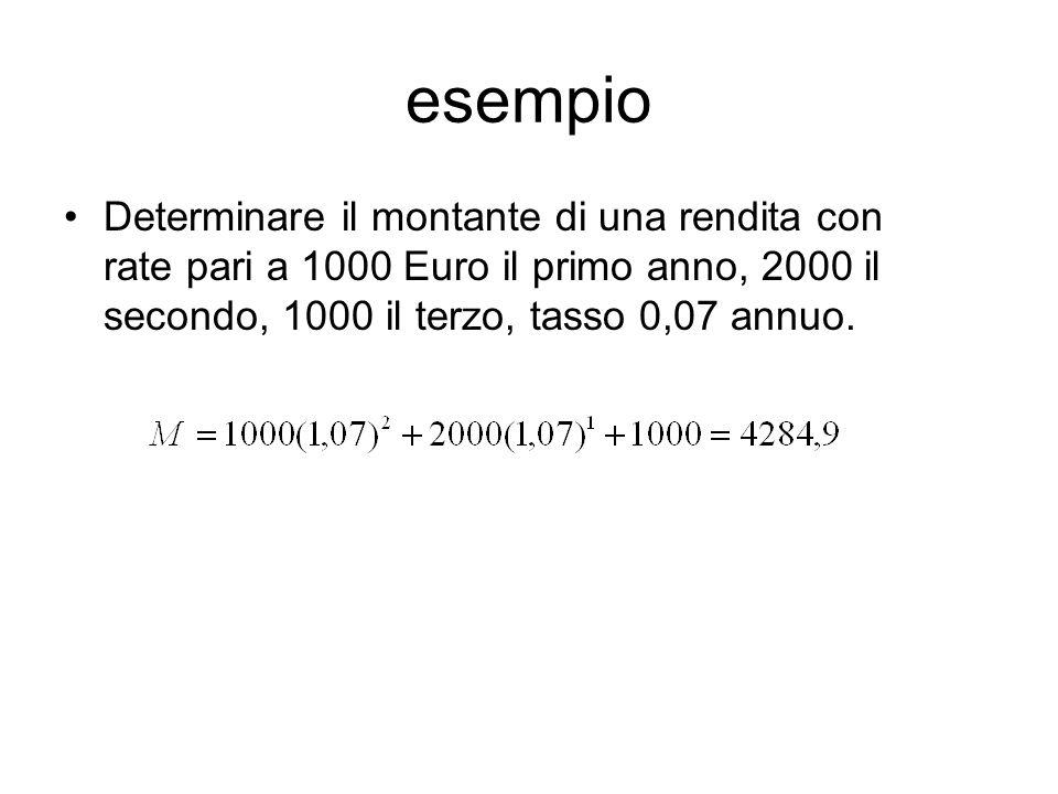 esempio Determinare il montante di una rendita con rate pari a 1000 Euro il primo anno, 2000 il secondo, 1000 il terzo, tasso 0,07 annuo.