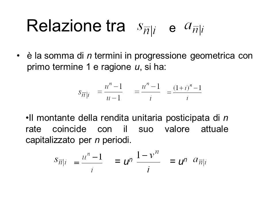 Relazione tra e. è la somma di n termini in progressione geometrica con primo termine 1 e ragione u, si ha: