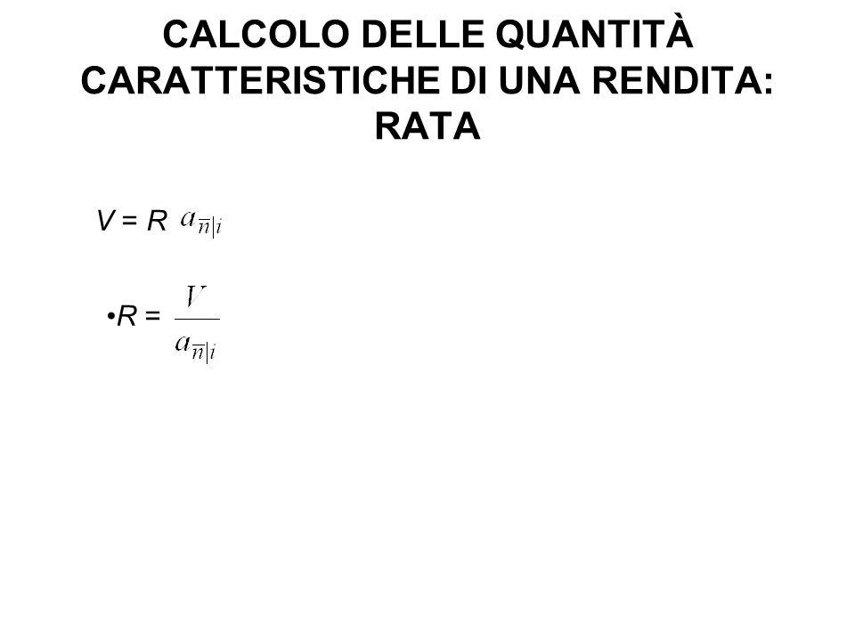 CALCOLO DELLE QUANTITÀ CARATTERISTICHE DI UNA RENDITA: RATA