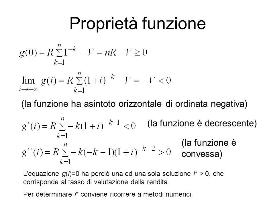 Proprietà funzione (la funzione ha asintoto orizzontale di ordinata negativa) (la funzione è decrescente)