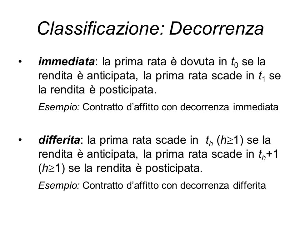 Classificazione: Decorrenza