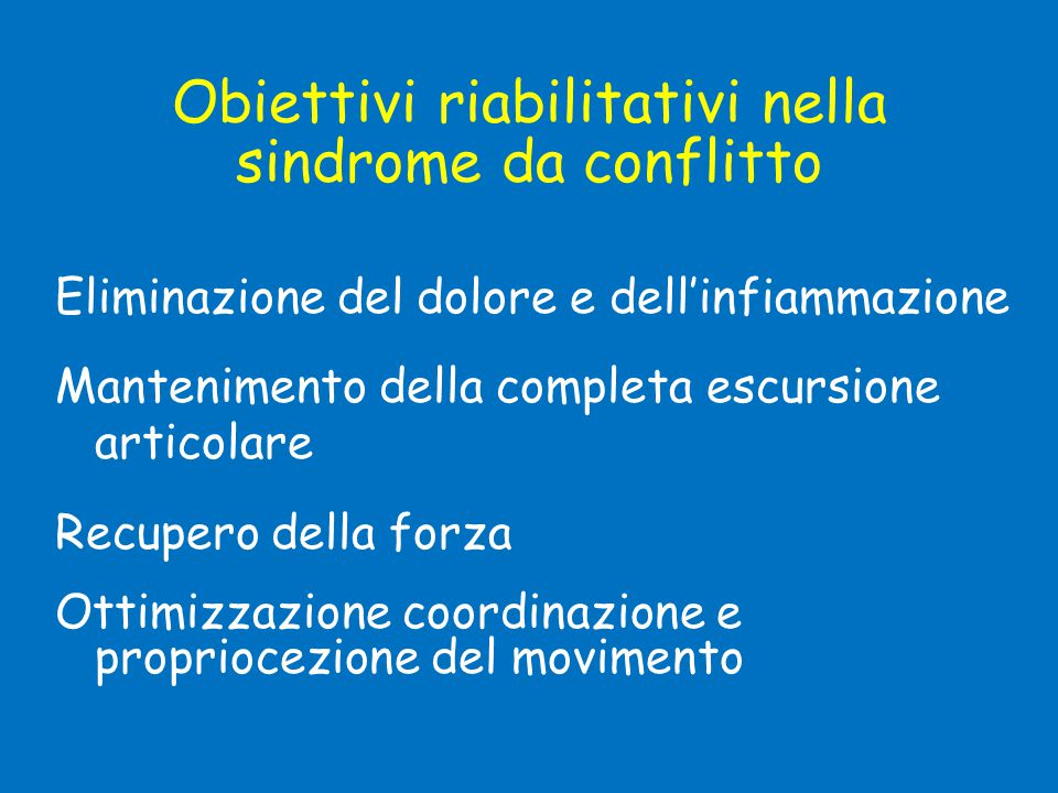 Obiettivi riabilitativi nella sindrome da conflitto