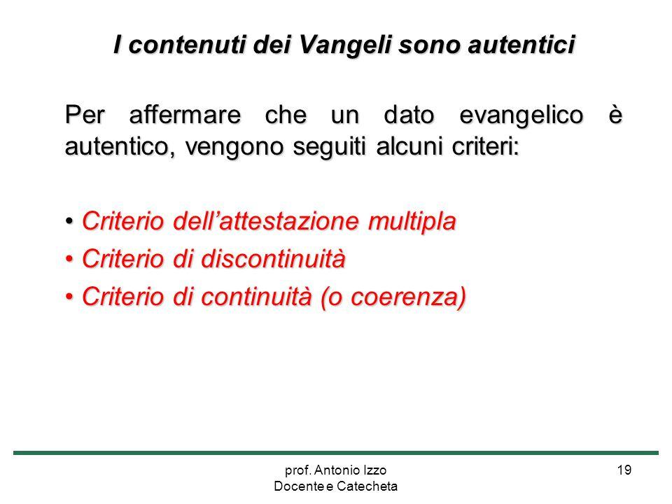 I contenuti dei Vangeli sono autentici