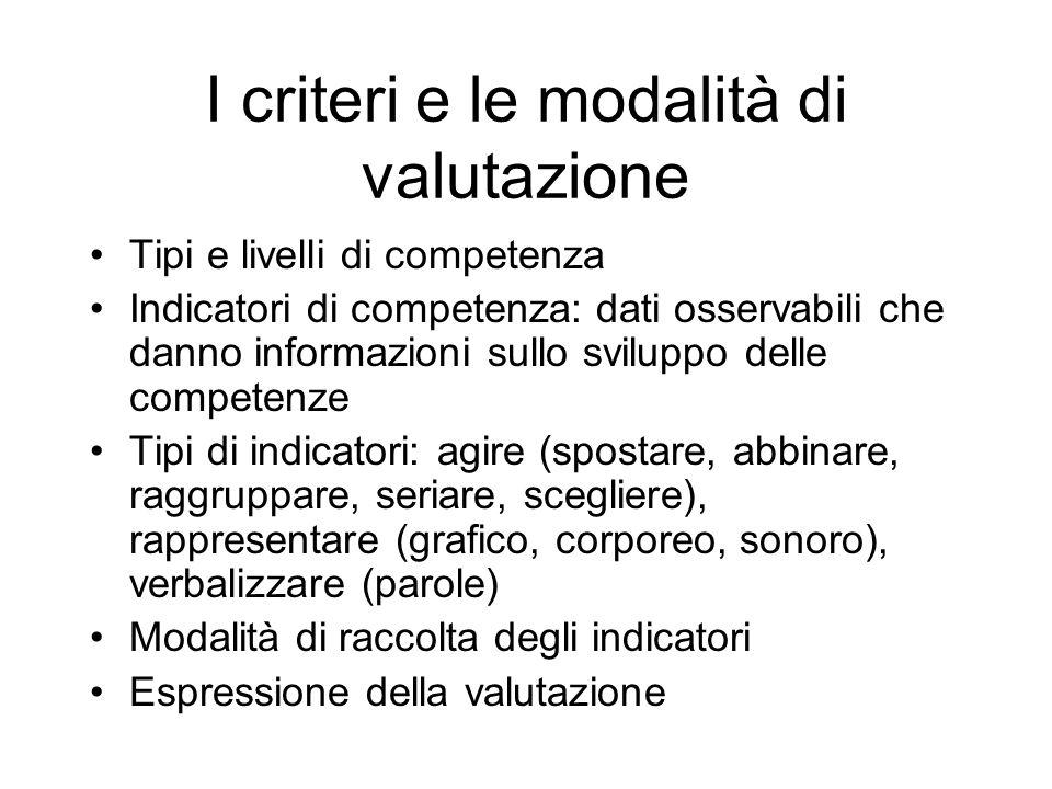 I criteri e le modalità di valutazione