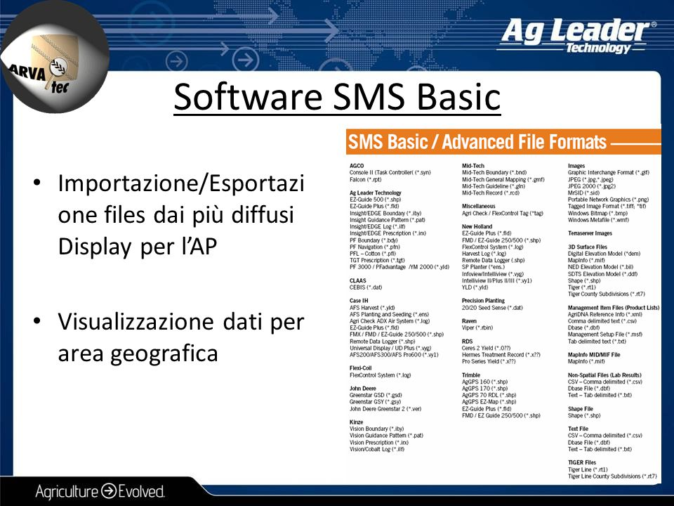 Software SMS Basic Importazione/Esportazione files dai più diffusi Display per l'AP.
