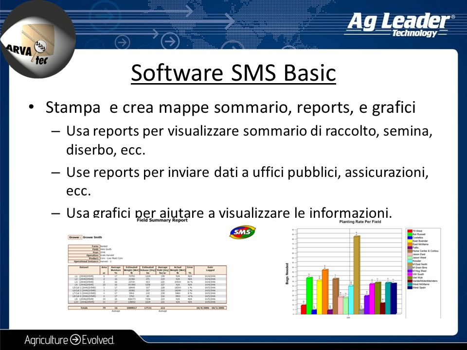 Software SMS Basic Stampa e crea mappe sommario, reports, e grafici