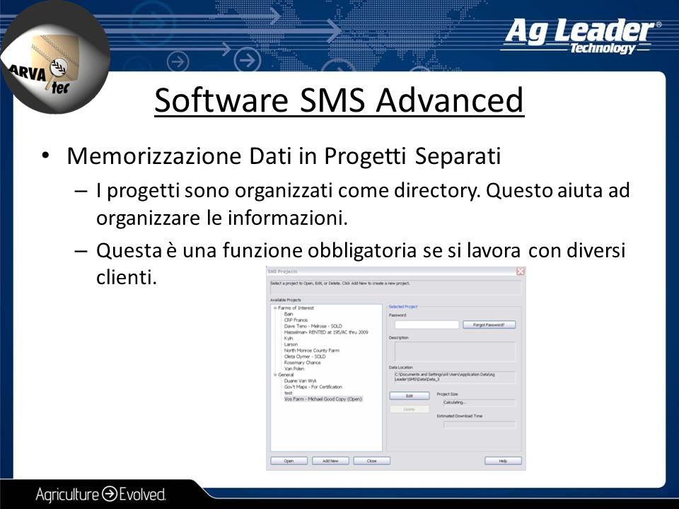 Software SMS Advanced Memorizzazione Dati in Progetti Separati