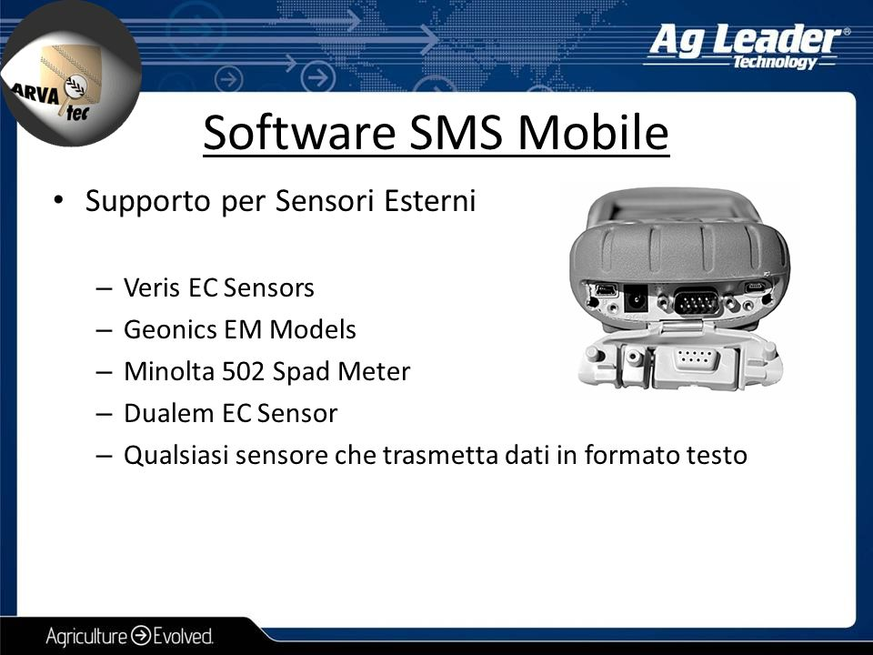 Software SMS Mobile Supporto per Sensori Esterni Veris EC Sensors