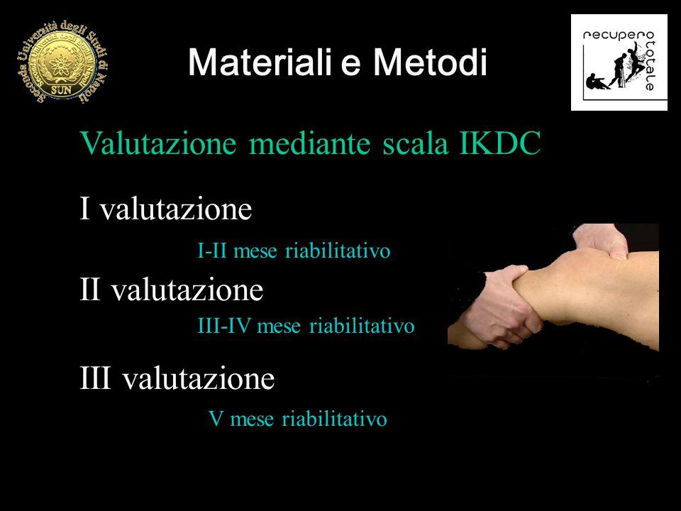 Materiali e Metodi Valutazione mediante scala IKDC I valutazione