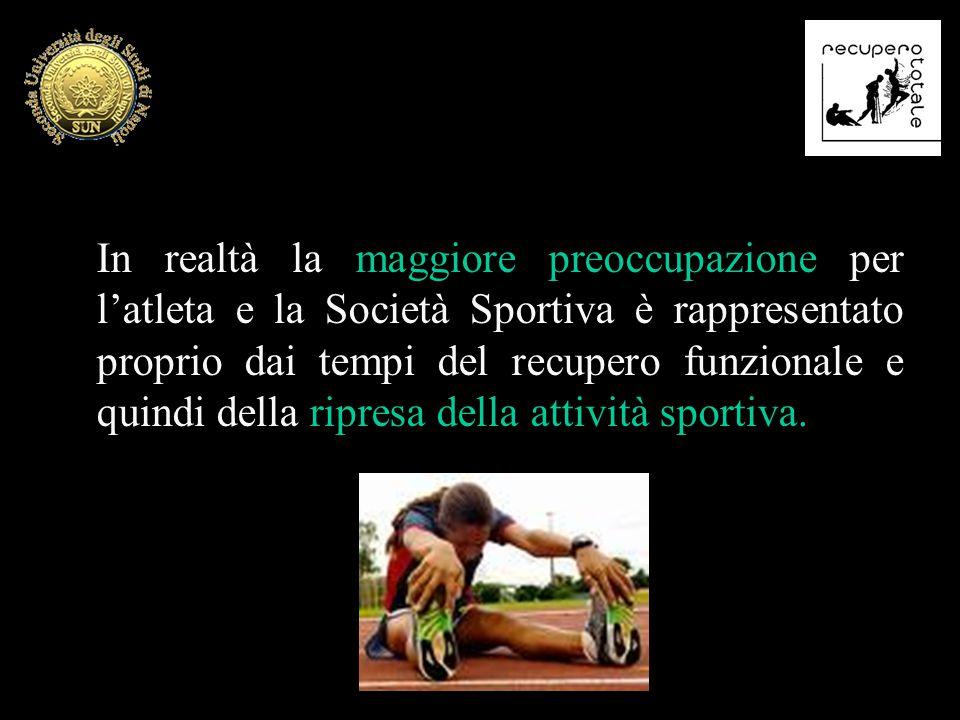 In realtà la maggiore preoccupazione per l'atleta e la Società Sportiva è rappresentato proprio dai tempi del recupero funzionale e quindi della ripresa della attività sportiva.