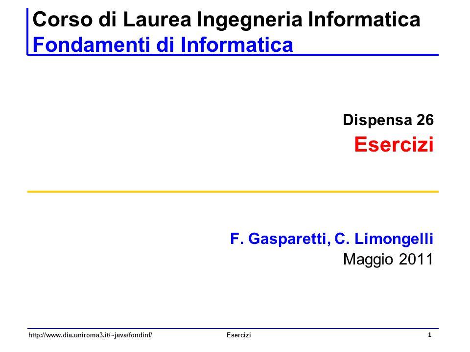 Corso di Laurea Ingegneria Informatica Fondamenti di Informatica