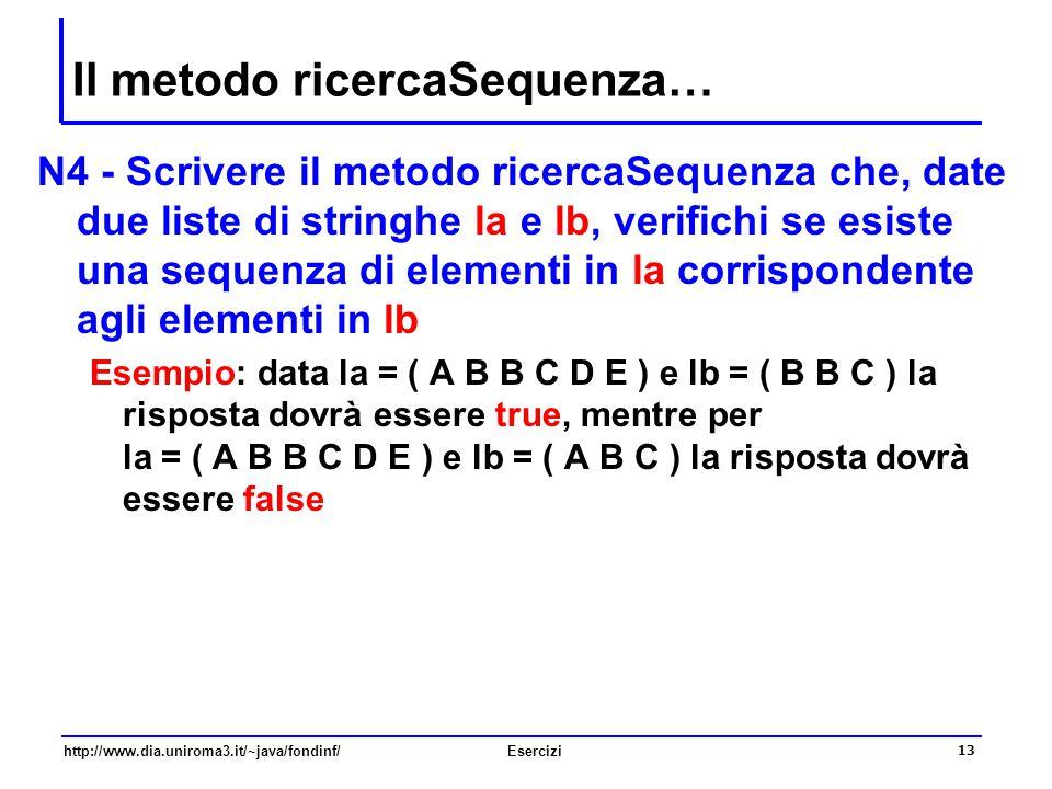 Il metodo ricercaSequenza…