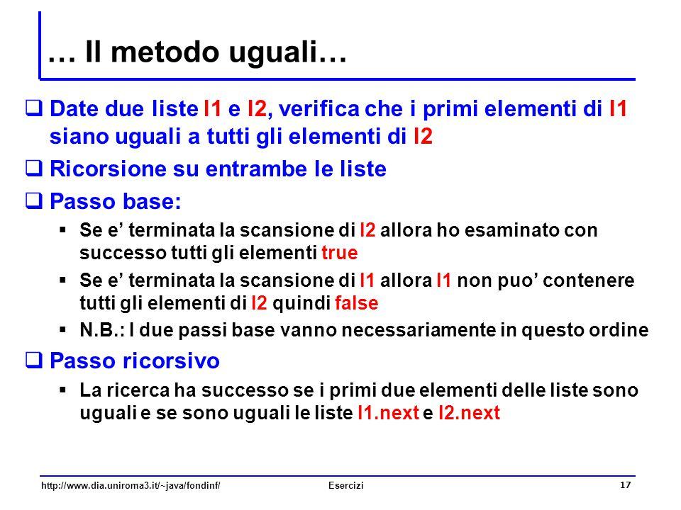… Il metodo uguali… Date due liste l1 e l2, verifica che i primi elementi di l1 siano uguali a tutti gli elementi di l2.