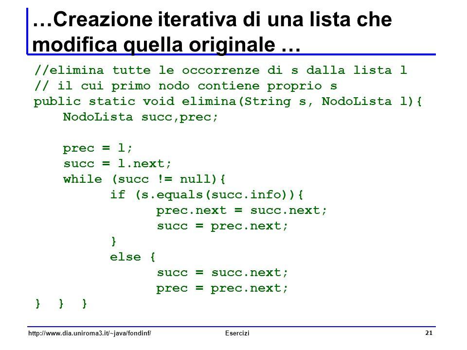 …Creazione iterativa di una lista che modifica quella originale …