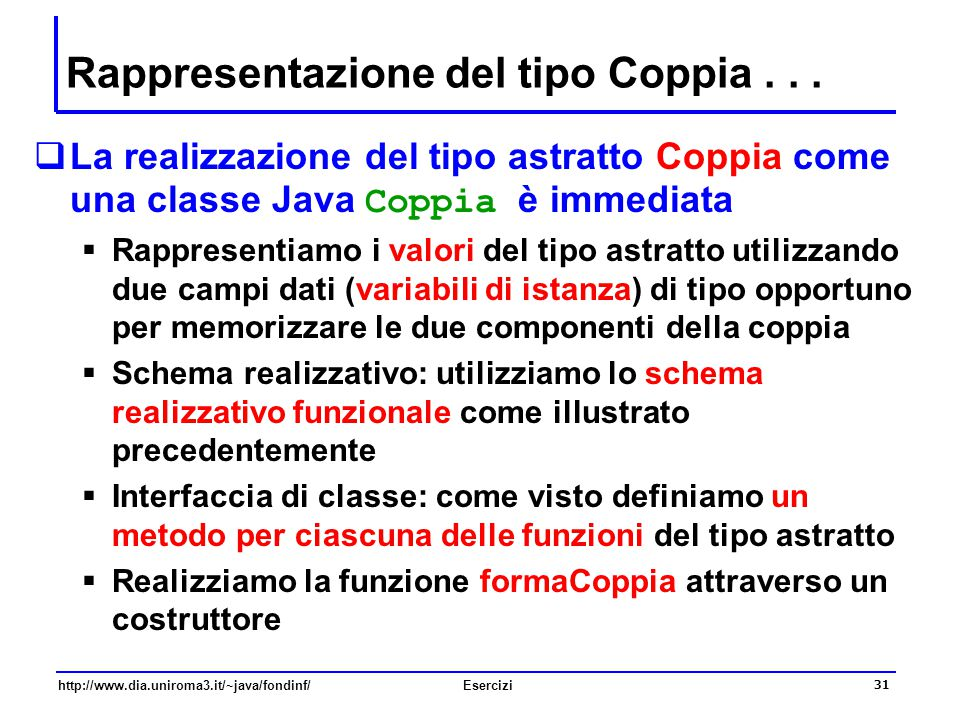 Rappresentazione del tipo Coppia . . .