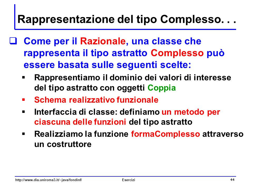 Rappresentazione del tipo Complesso. . .