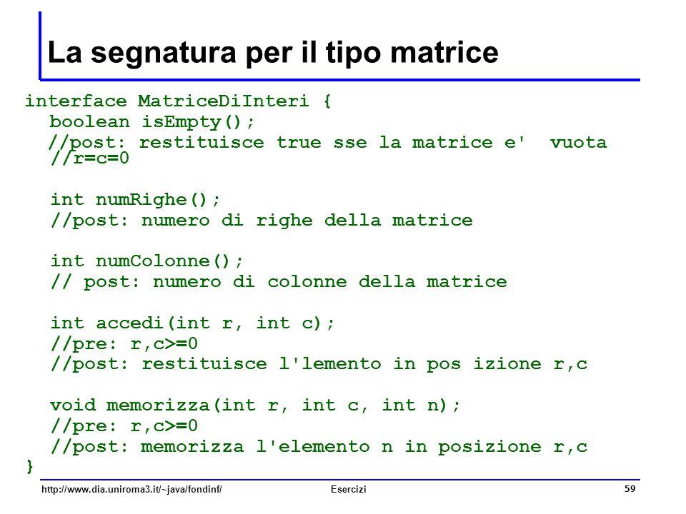 La segnatura per il tipo matrice