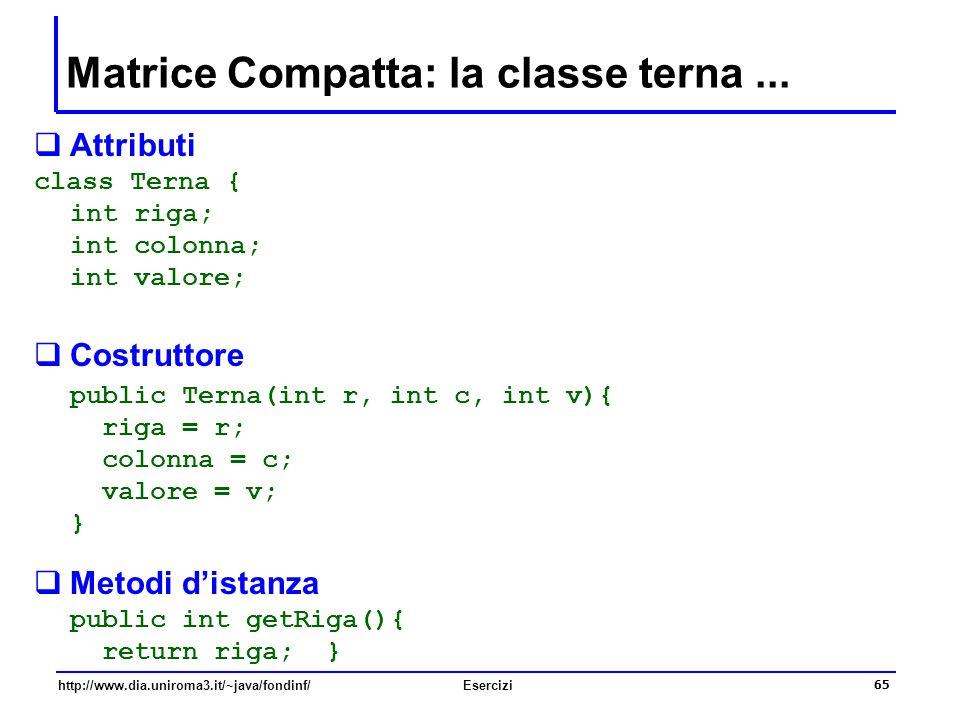 Matrice Compatta: la classe terna ...