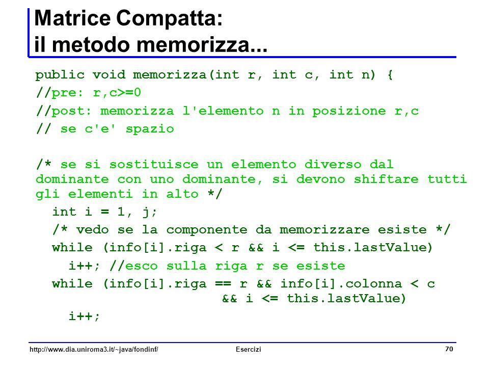 Matrice Compatta: il metodo memorizza...