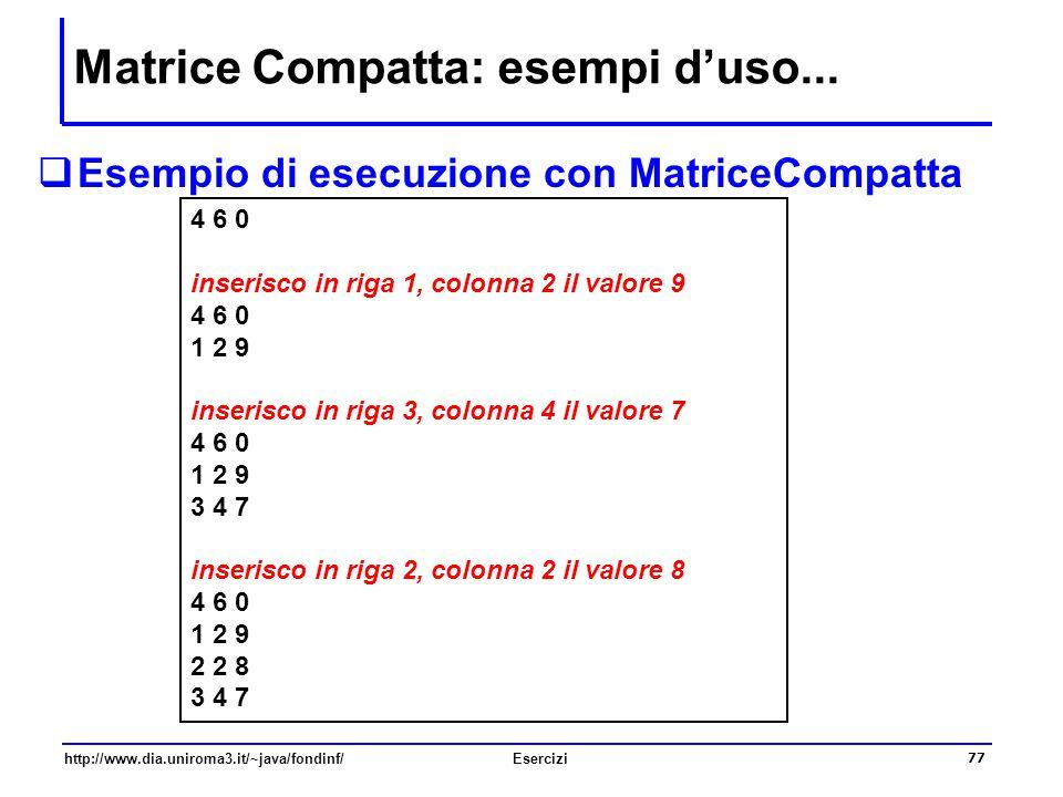 Matrice Compatta: esempi d'uso...