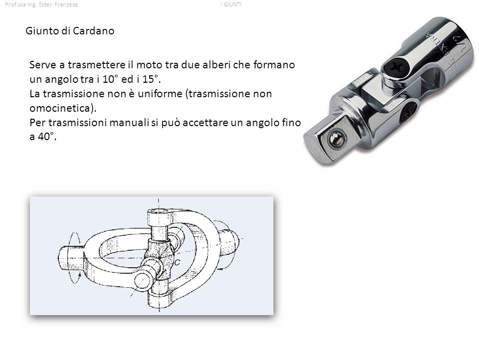 Giunto di Cardano Serve a trasmettere il moto tra due alberi che formano un angolo tra i 10° ed i 15°.