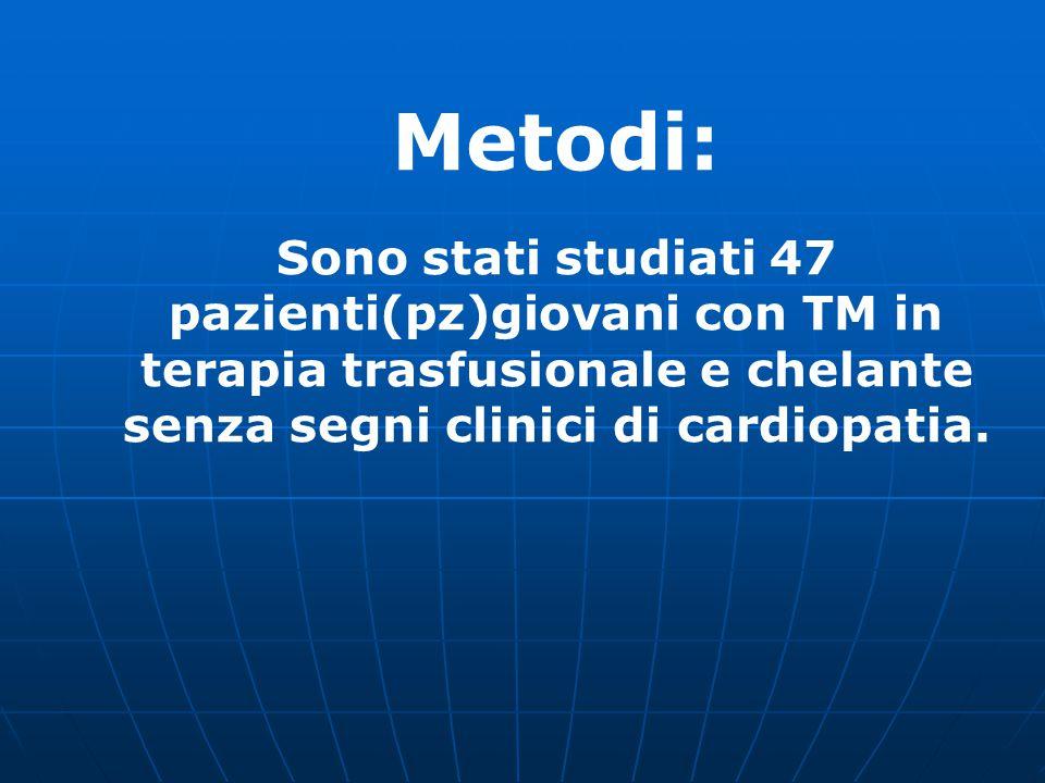 Metodi: Sono stati studiati 47 pazienti(pz)giovani con TM in terapia trasfusionale e chelante senza segni clinici di cardiopatia.
