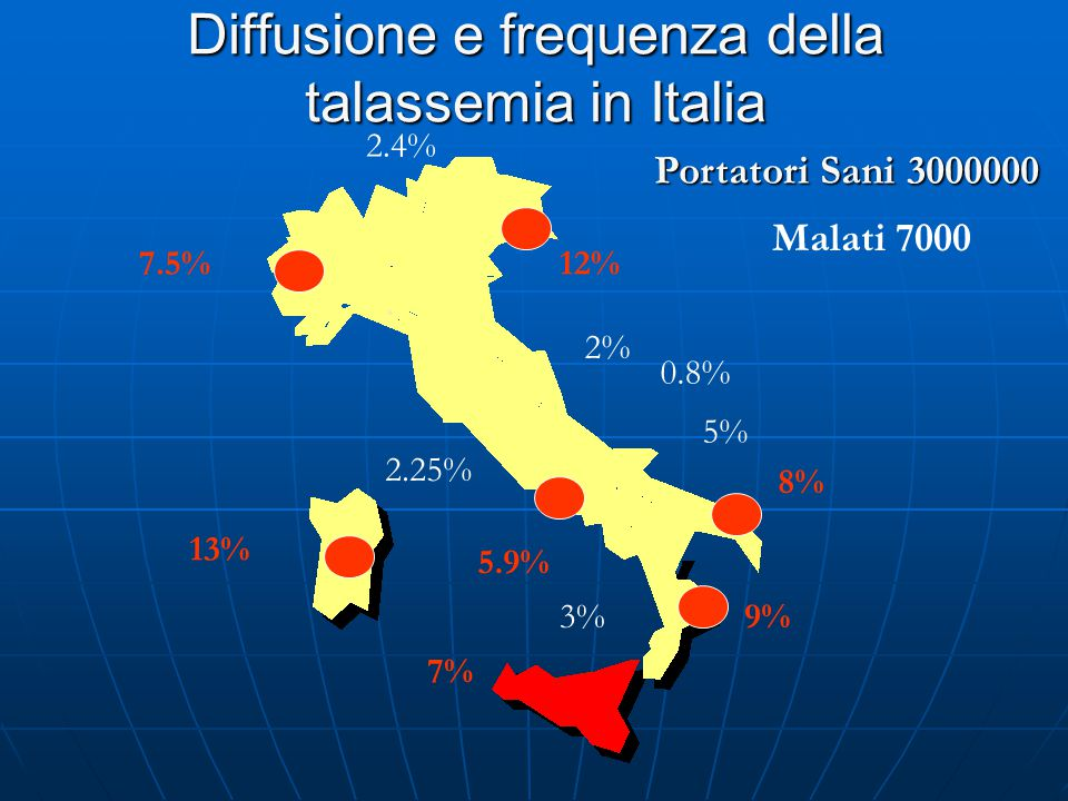 Diffusione e frequenza della talassemia in Italia