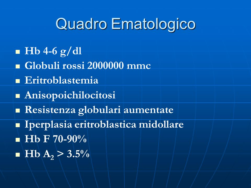 Quadro Ematologico Hb 4-6 g/dl Globuli rossi 2000000 mmc
