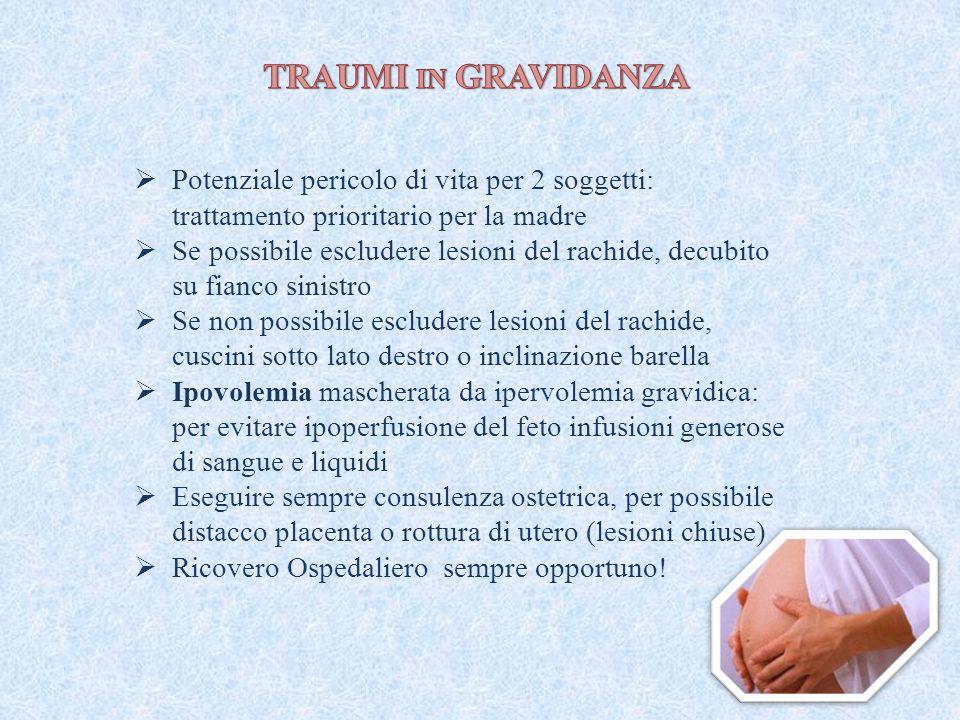 TRAUMI in GRAVIDANZA Potenziale pericolo di vita per 2 soggetti: trattamento prioritario per la madre.