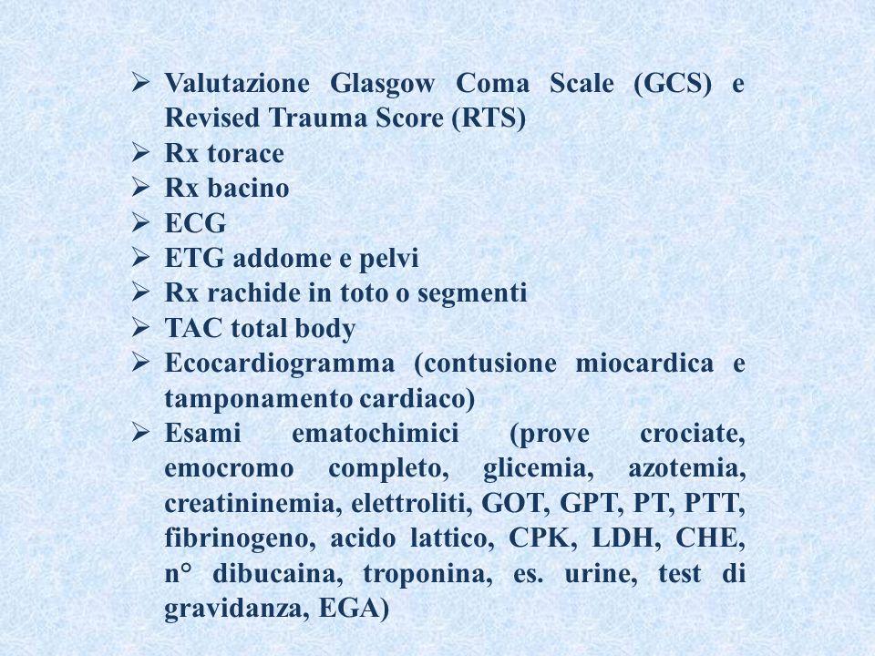 Valutazione Glasgow Coma Scale (GCS) e Revised Trauma Score (RTS)