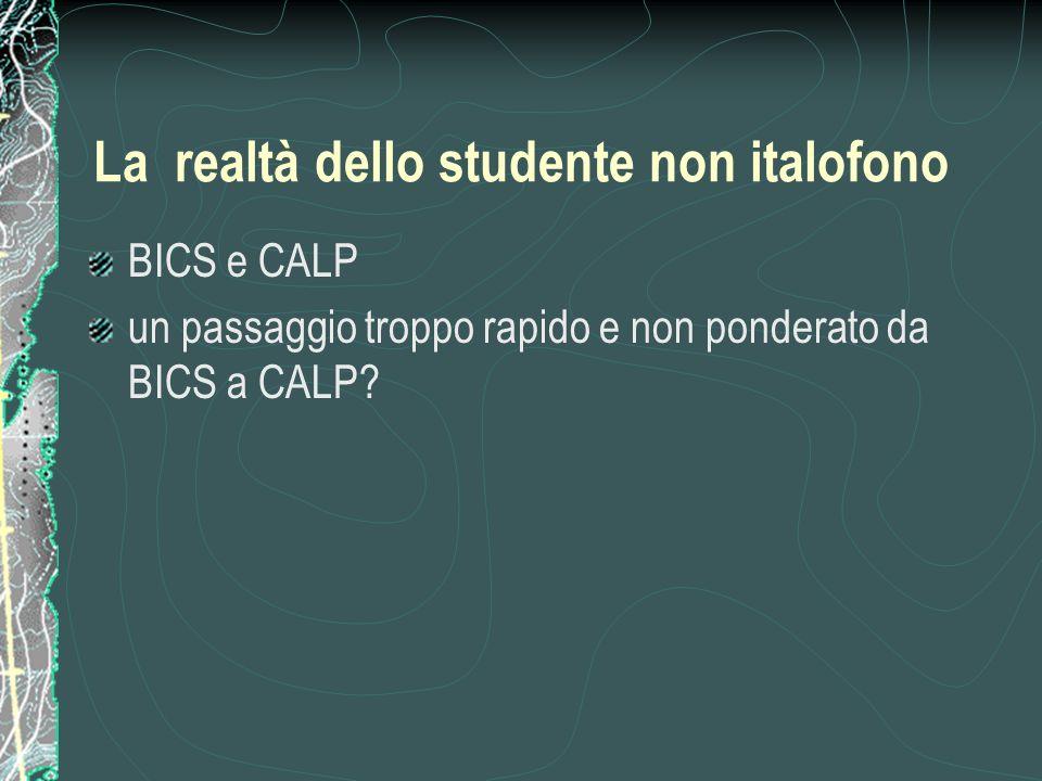 La realtà dello studente non italofono
