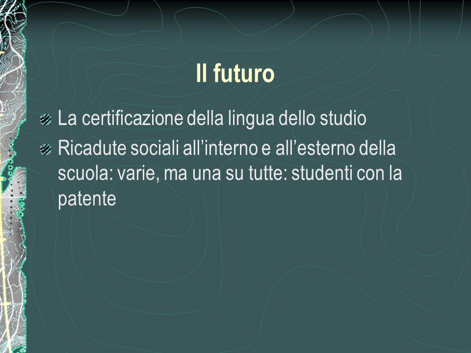 Il futuro La certificazione della lingua dello studio