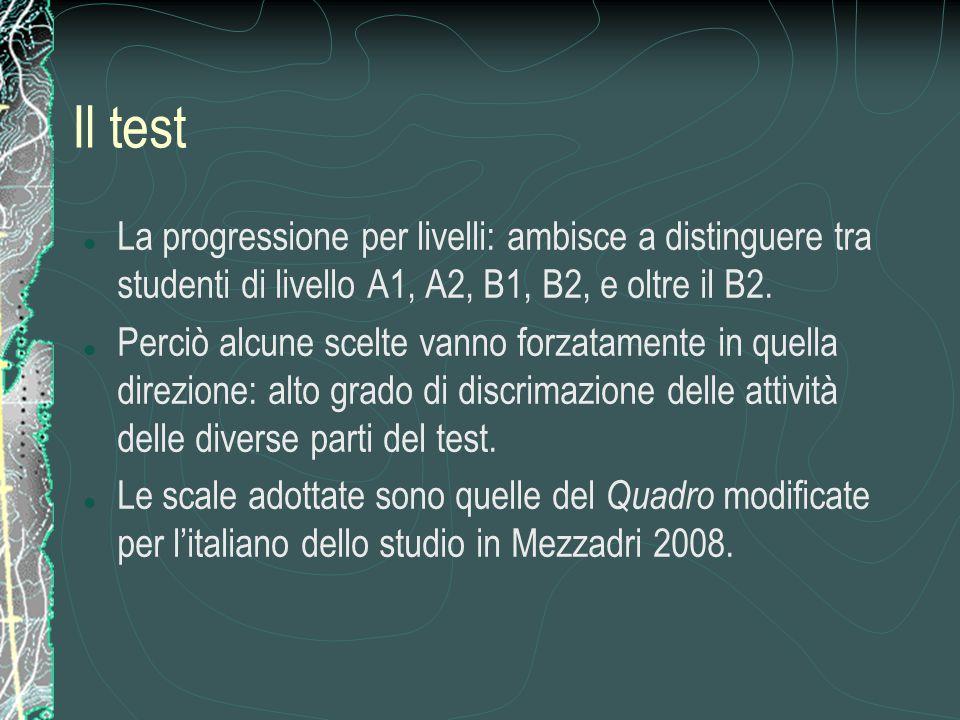 Il test La progressione per livelli: ambisce a distinguere tra studenti di livello A1, A2, B1, B2, e oltre il B2.