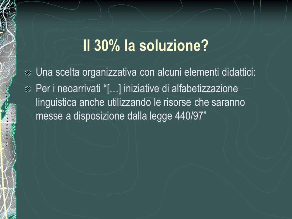 Il 30% la soluzione Una scelta organizzativa con alcuni elementi didattici: