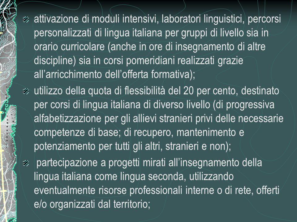 attivazione di moduli intensivi, laboratori linguistici, percorsi personalizzati di lingua italiana per gruppi di livello sia in orario curricolare (anche in ore di insegnamento di altre discipline) sia in corsi pomeridiani realizzati grazie all'arricchimento dell'offerta formativa);