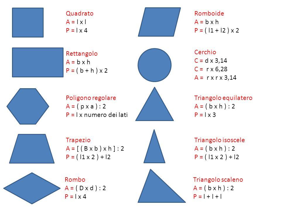 Quadrato A = l x l. P = l x 4. Romboide. A = b x h. P = ( l1 + l2 ) x 2. Rettangolo. A = b x h.