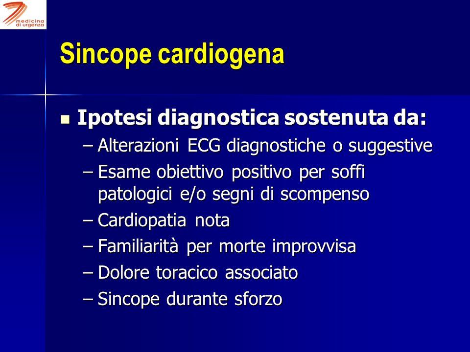 Sincope cardiogena Ipotesi diagnostica sostenuta da: