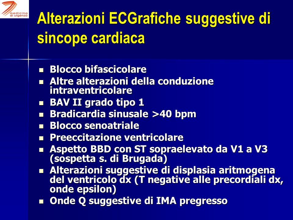 Alterazioni ECGrafiche suggestive di sincope cardiaca