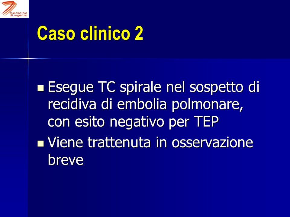 Caso clinico 2 Esegue TC spirale nel sospetto di recidiva di embolia polmonare, con esito negativo per TEP.