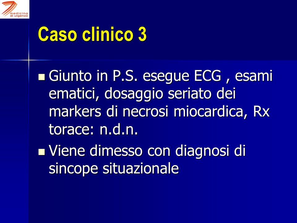 Caso clinico 3 Giunto in P.S. esegue ECG , esami ematici, dosaggio seriato dei markers di necrosi miocardica, Rx torace: n.d.n.