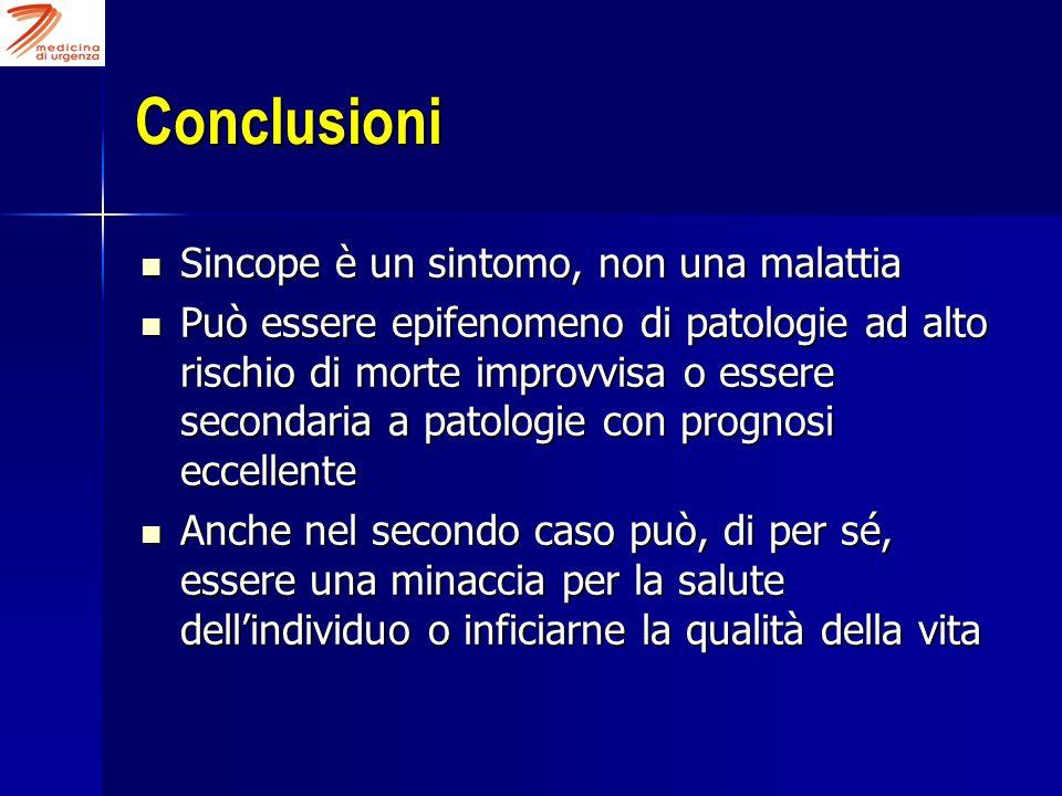 Conclusioni Sincope è un sintomo, non una malattia