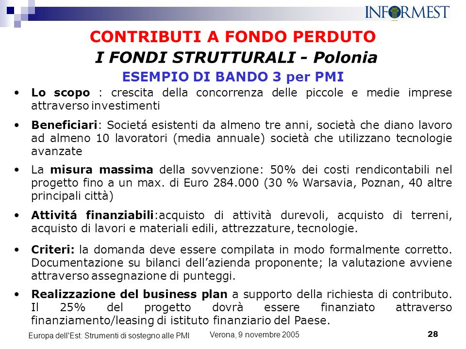CONTRIBUTI A FONDO PERDUTO I FONDI STRUTTURALI - Polonia