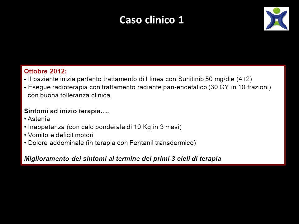 Caso clinico 1 Ottobre 2012: Il paziente inizia pertanto trattamento di I linea con Sunitinib 50 mg/die (4+2)