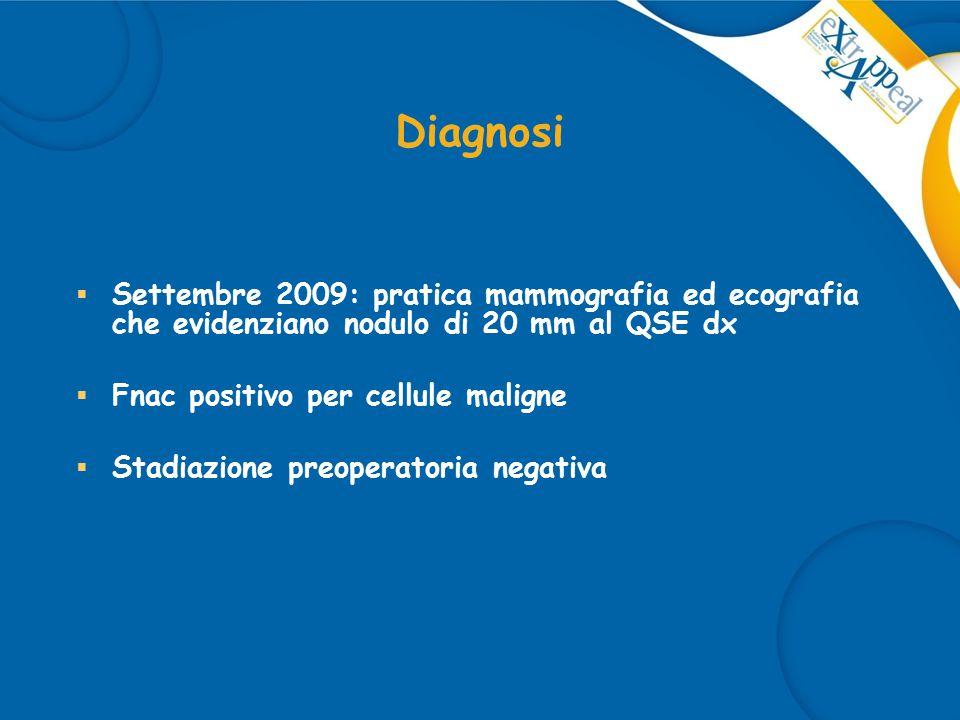 Diagnosi Settembre 2009: pratica mammografia ed ecografia che evidenziano nodulo di 20 mm al QSE dx.