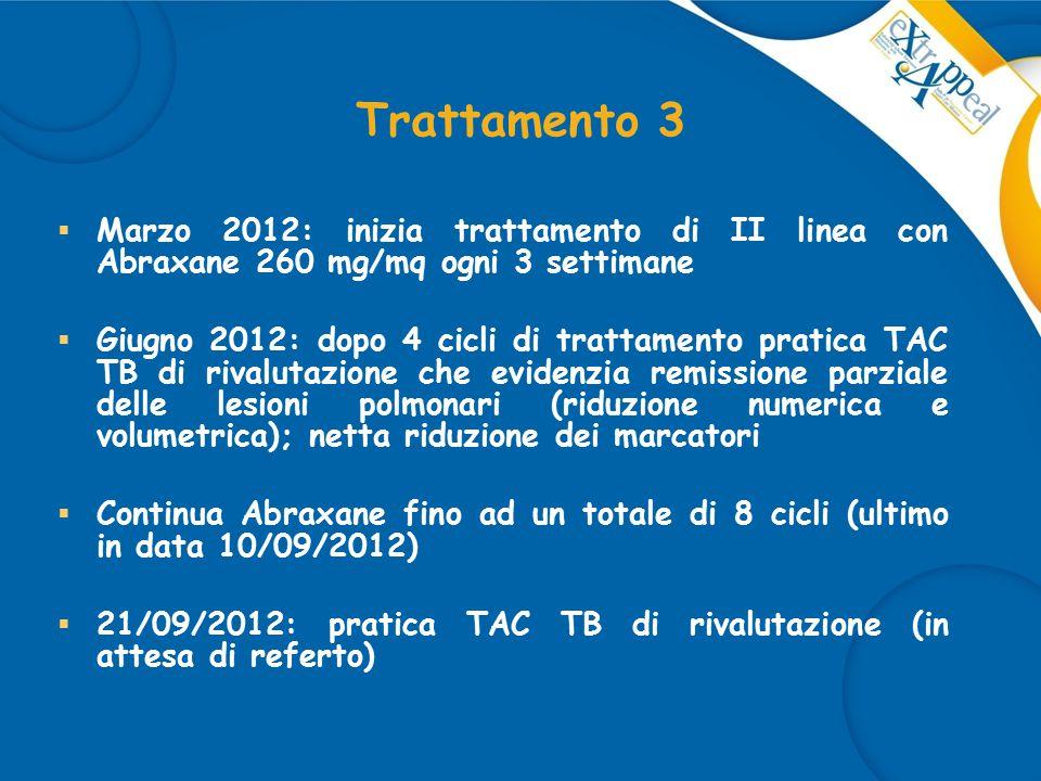 Trattamento 3 Marzo 2012: inizia trattamento di II linea con Abraxane 260 mg/mq ogni 3 settimane.